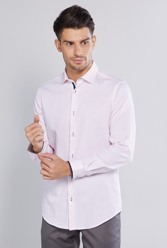 Slim Fit Striped Shirt with Long Sleeves and Complete Placket