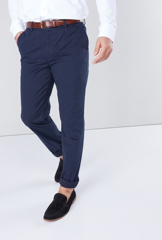 Solid Formal Trousers with Pocket Detail and Belt Loops
