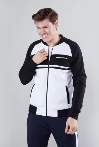 Bomber Jacket with Long Sleeves and Pocket Detail