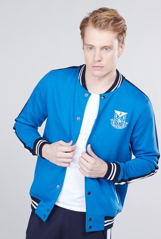 Embroidered Detail Varsity Jacket with Long Sleeves
