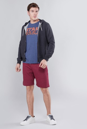 Textured Mid Waist Shorts with Pocket Detail and Drawstring
