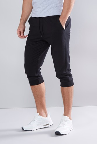 Plain Cuffed Capris with Pocket Detail and Drawstring