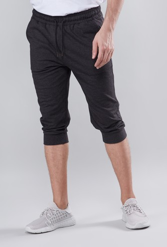 Solid 3/4 Joggers with Drawstring Closure