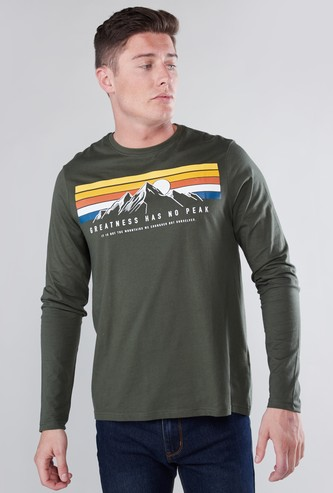 Graphic Printed T-shirt with Round Neck and Long Sleeves