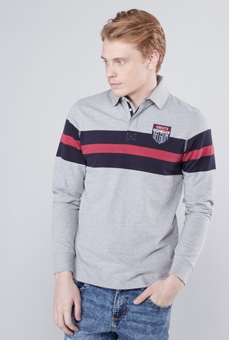 Panelled Polo Neck T-shirt with Long Sleeves