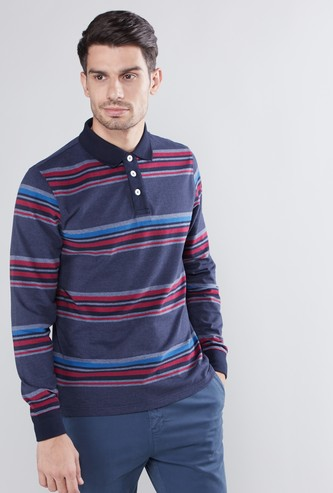 Striped Polo Neck T-shirt with Long Sleeves
