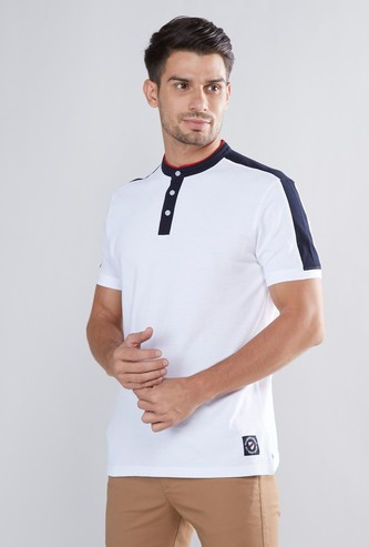 Cut and Sew Henley T-shirt with Short Sleeves