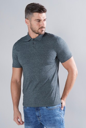 Solid Polo T-shirt with Short Sleeves and Vented Hem