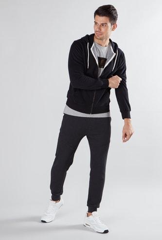 Textured Sweatshirt with Long Sleeves and Drawstring Hood
