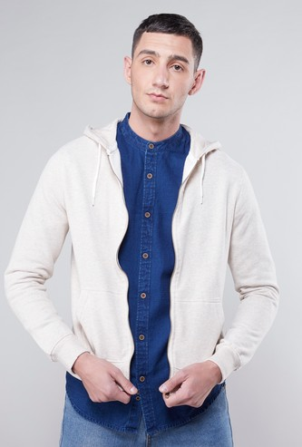 Textured Zip Front Hoodie with Long Sleeves