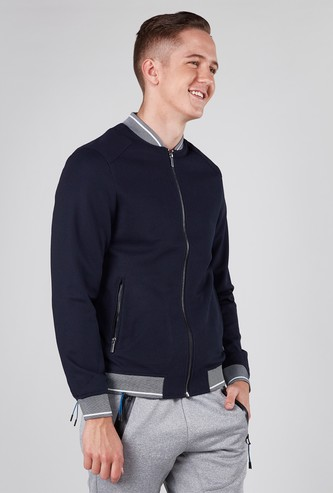 Textured Bomber Jacket with Long Sleeves and Kangaroo Pockets