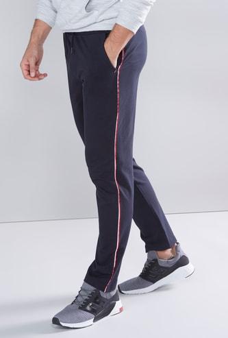 Solid Jogger Pants with Printed Piping Detail and Drawstring Closure
