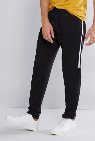 Full Length Plain Track Pants with Pockets and Stripe Detail