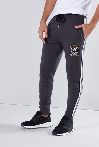 Full Length Printed Jog Pants with Tape Detail