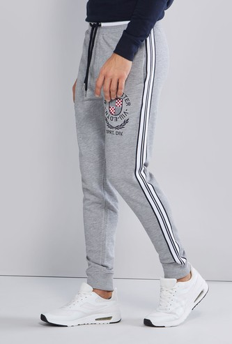 Printed Joggers with Tape Detail and Drawstring Closure