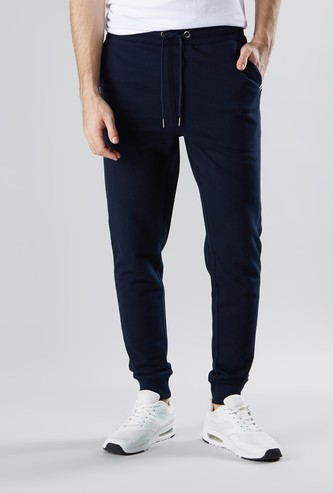 Solid Joggers with Dual Pockets and Drawstring Closure