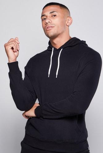 Solid Hoodie with Long Sleeves