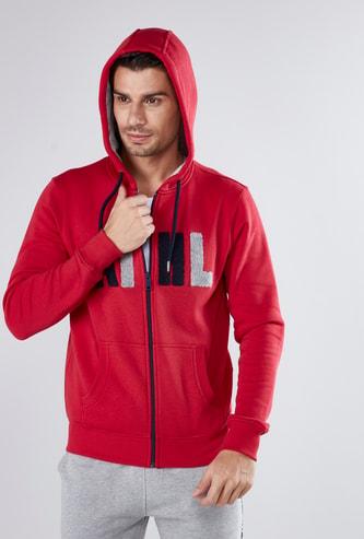 Textured Hoodie with Long Sleeves and Zip Closure