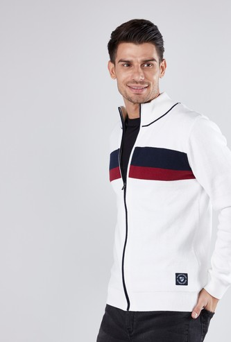 Colourblock Sweater with Long Sleeves and Zip Closure