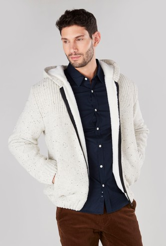 Textured Sweater Jacket with Long Sleeves and Hood