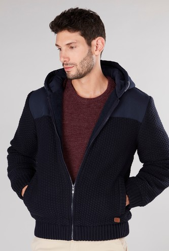 Textured Hooded Cardigan with Long Sleeves and Zip Closure