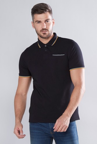 Tipping Detail Plain T-shirt with Polo Neck and Short Sleeves