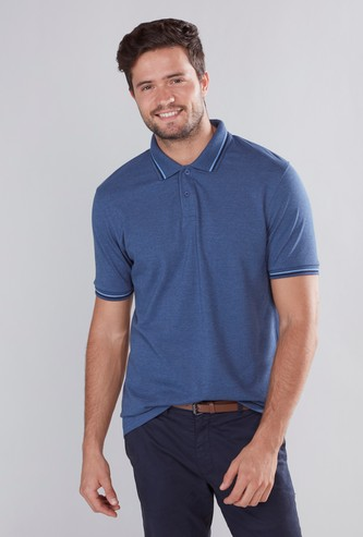 Solid Polo T-shirt with Short Sleeves and Tipping Detail