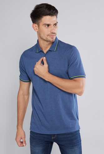 Tipping Detailed T-shirt with Polo Neck and Short Sleeves