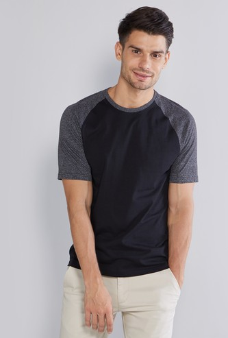 Colour Block Plain T-shirt with Round Neck and Raglan Sleeves
