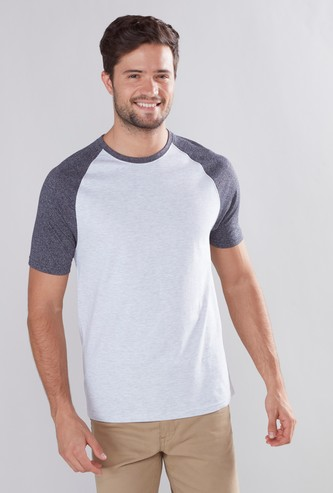 Solid Round Neck T-shirt with Short Raglan Sleeves