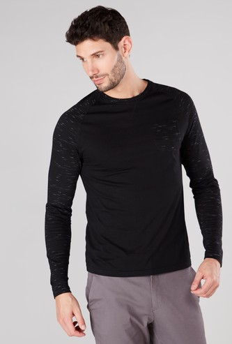 Printed T-shirt with Round Neck and Raglan Sleeves