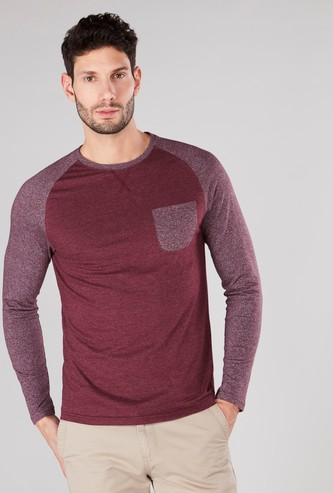 Slim Fit Plain T-shirt with Raglan Sleeves and Chest Pocket