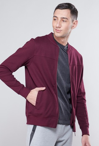 Basic Bomber Jacket with Long Sleeves and Zip Closure