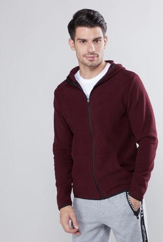 Melange Long Sleeves Jacket with Hood and Zip Closure