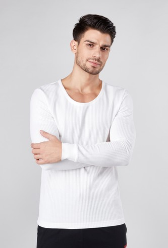 Ribbed Thermal T-shirt with Round Neck and Long Sleeves