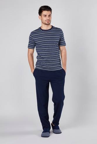 Striped Round Neck T-shirt and Pyjamas Set