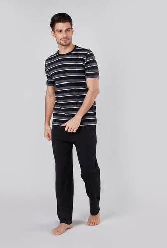 Striped Short Sleeves T-shirt and Pyjama Set