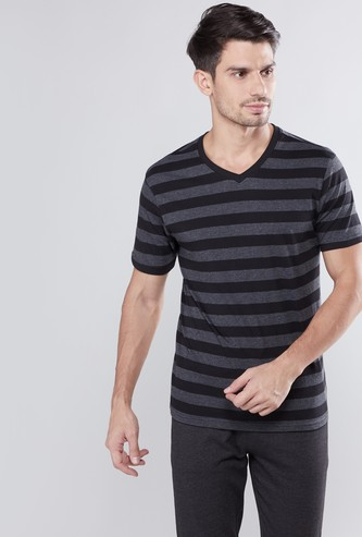 Striped T-shirt with V-neck and Short Sleeves