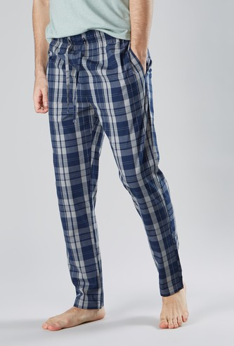 Checked Pyjama Pants with Pocket Detail and Drawstring Closure