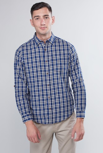 Chequered Button Through Shirt with Long Sleeves and Pocket