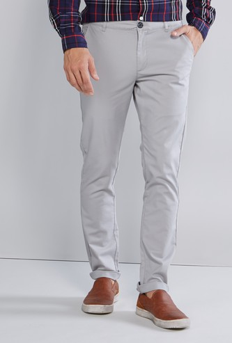 Plain Full Length Chino Pants with Pocket Detail in Skinny Fit
