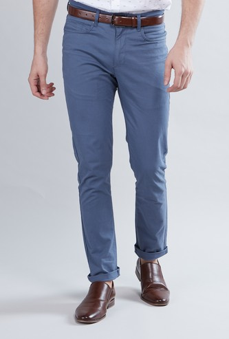 Skinny Fit Full Length Plain Chinos with Pocket Detail and Belt Loops