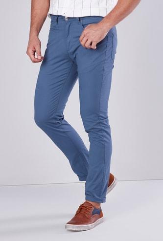 Full Length Plain Chino Pants with 5 Pockets