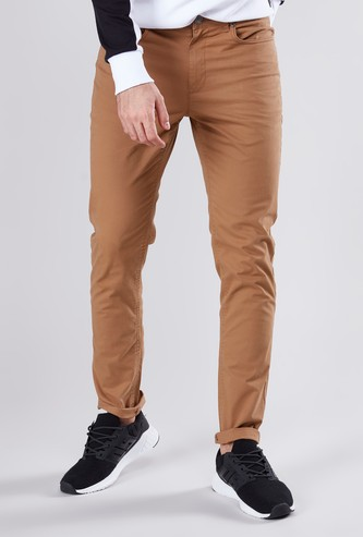 Plain Chino Pants with Pocket Detail and Belt Loops
