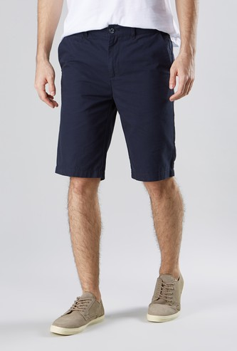 Solid Shorts with Pockets and Belt Loops