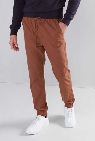 Solid 5 Pockets Joggers with Elasticated Drawstring Waistband