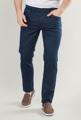 Slim Fit Textured Chinos with 5-Pockets