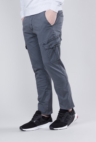 Plain Cargo Pants with Zippered Hems and Pockets