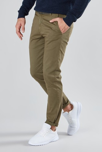 Slim Fit Plain Chinos with Belt Loops and Pockets