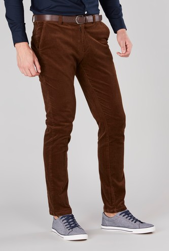 Solid Corduroy Pants with Side Pockets
